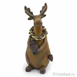 Декоративная фигура Олень с сосновой шишкой