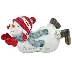 Фигура декоративная Снеговик на пузе