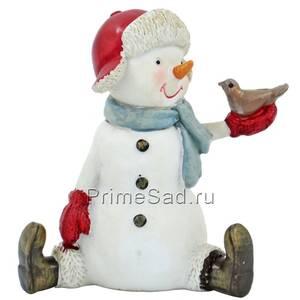 Фигура декоративная Снеговик с птичкой 2