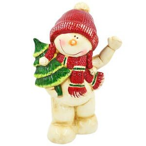 Фигура декоративная Снеговик с елкой