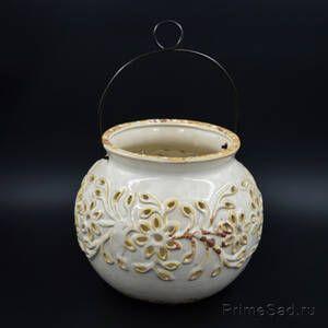 Подсвечник подвесной керамический ажурный