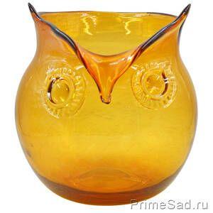Ваза стеклянная Сова оранжевая